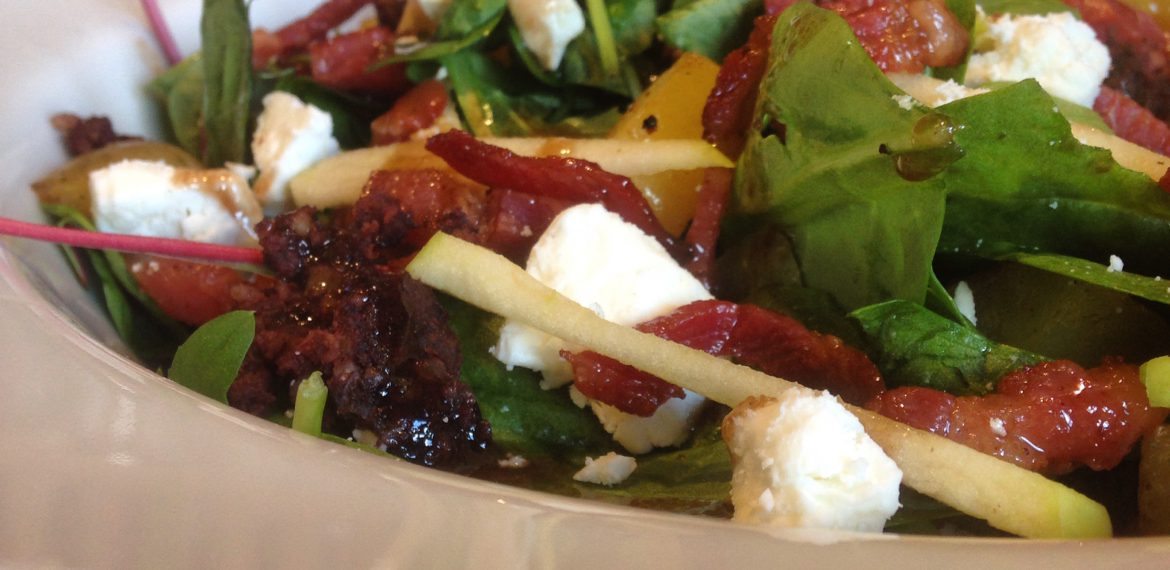 Black Pudding and Feta Salad with Maple Balsamic Dressing