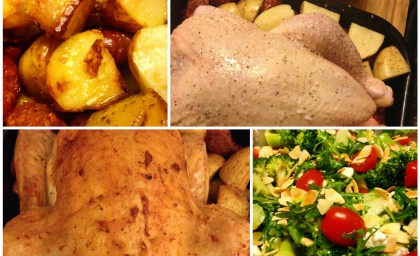 Roast Chicken with Chorizo and potatoes & Broccoli and feta salad with cherry tomatoes and toasted almonds