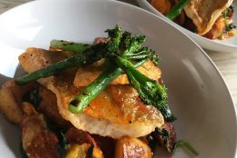 Whiting with Roast Potatoes, Chorizo, and Chargrilled Broccoli